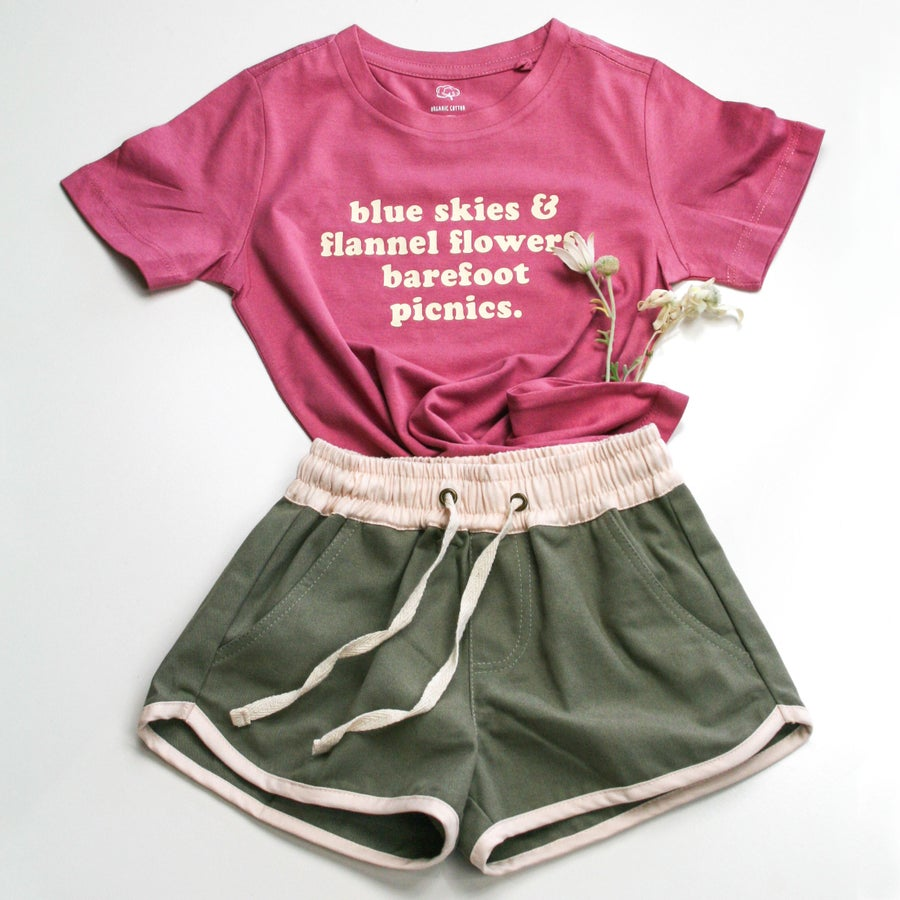 Image of 'Barefoot Picnics' Organic Tee - Dusty Pink