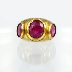 Image of Large yellow gold plated rubilite cocktail ring M2946