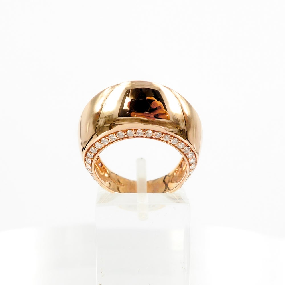 Image of 14ct Rose gold domed cocktail ring with diamonds - M1383
