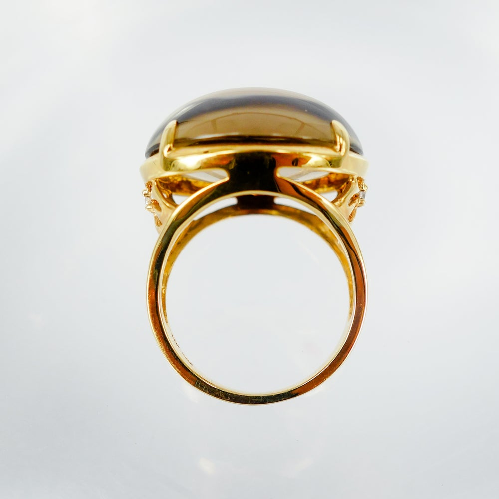 Image of 14ct yellow gold smoky quartz cocktail ring - M1571
