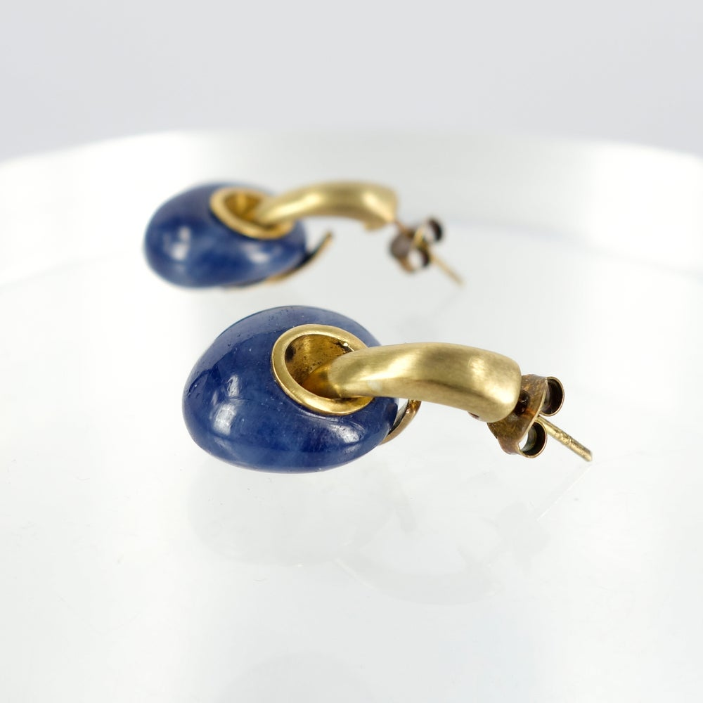 Image of Sterling silver gold plated sapphire drop earrings M2570