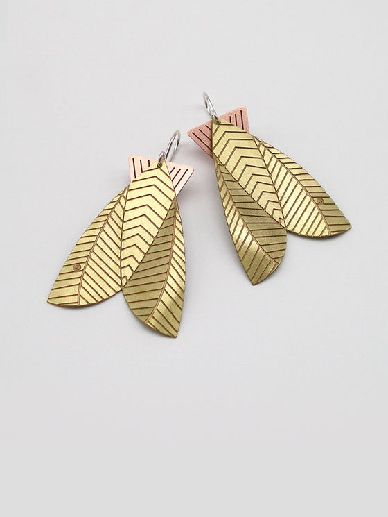 Image of MOTH EARRINGS: BIG MOTH  (BRASS & COPPER)