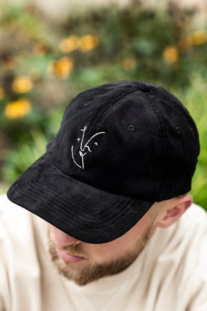 Image of Vague Face - Cord Hat - Black
