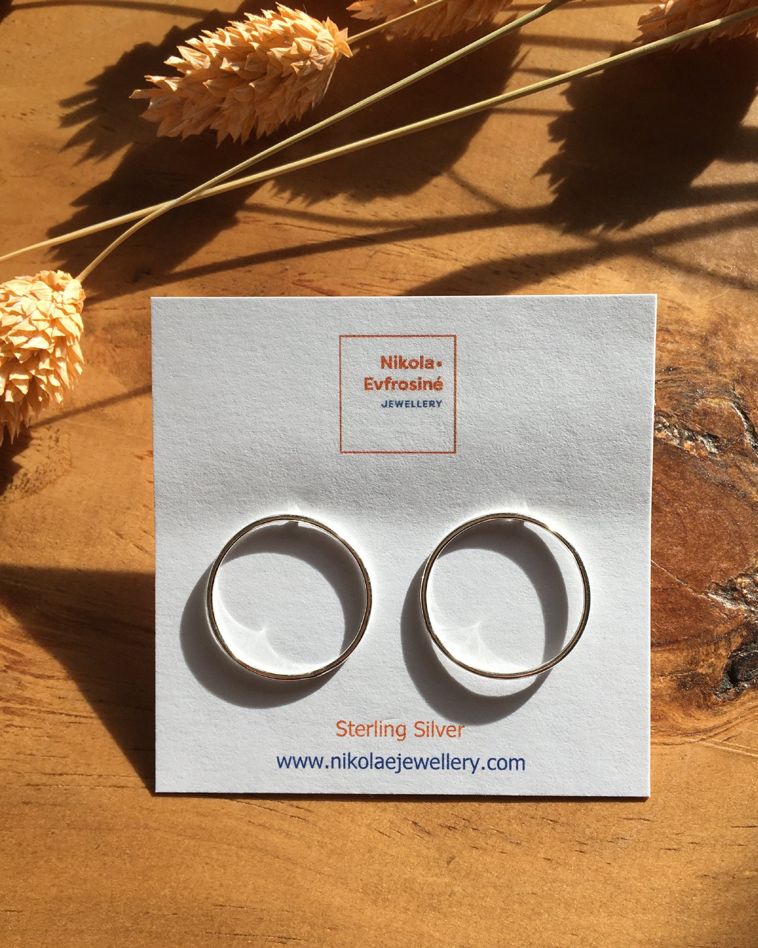 Image of Recycled Silver Simple Moon Outline Earrings