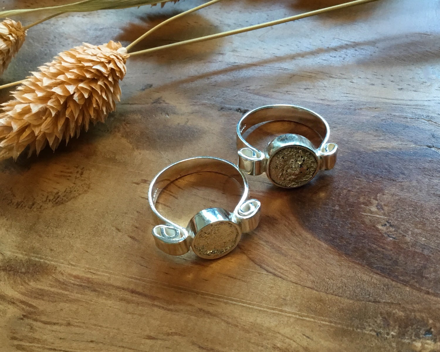 Image of Textured Full Moon Recycled Silver Ring
