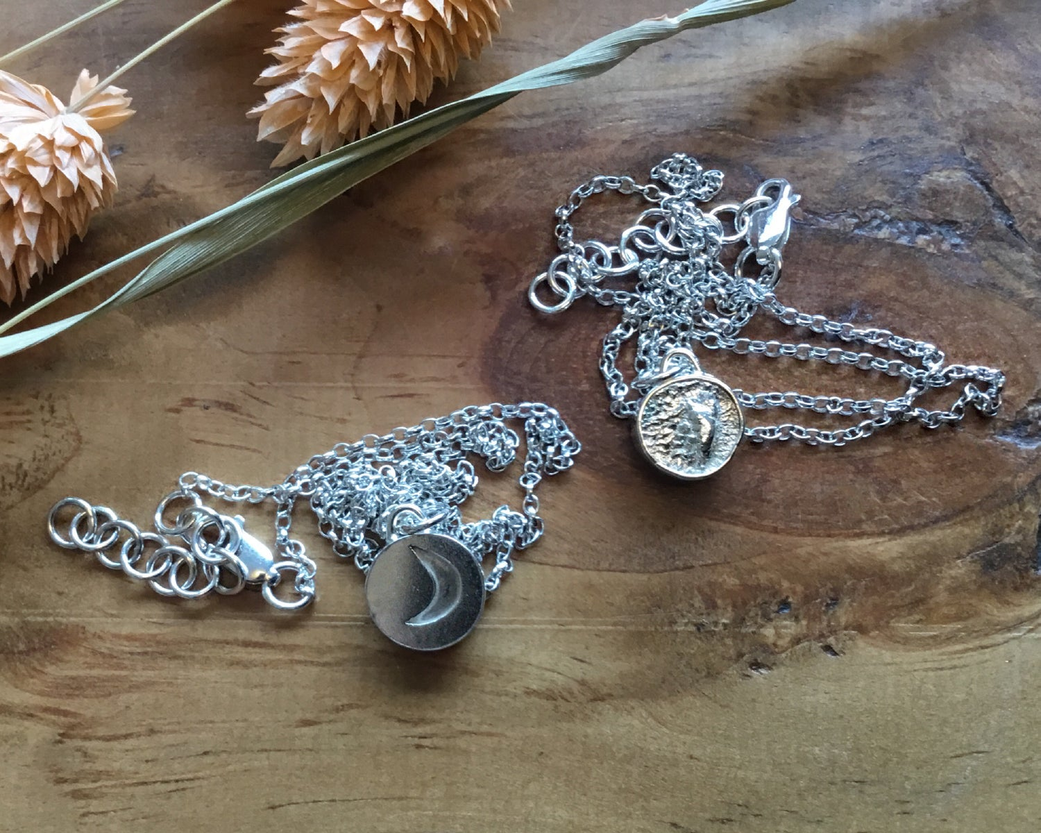 Image of Full and Crescent Moon Double Sided Recycled Silver Necklace