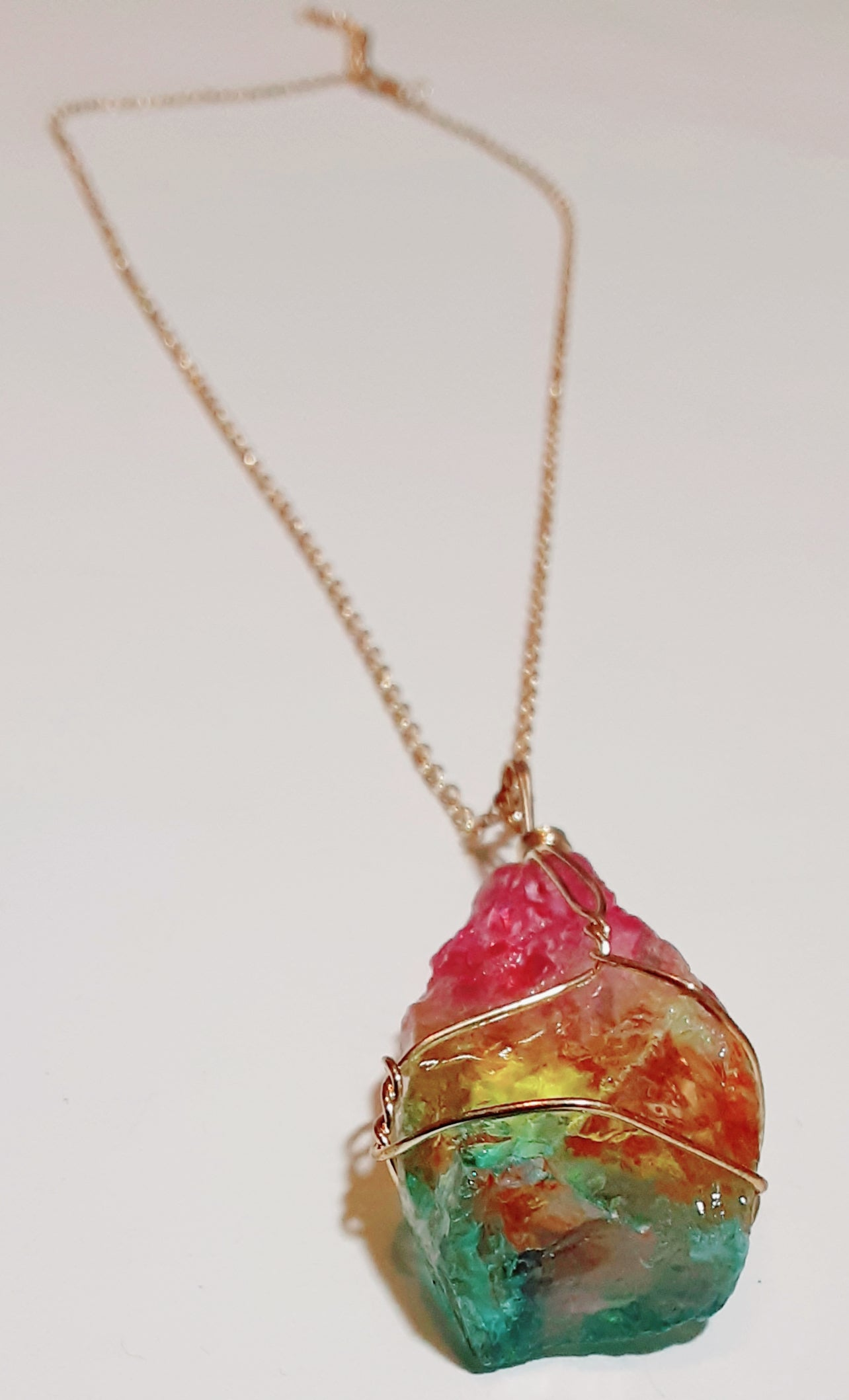 Image of Rainbow Crystal Drip Necklace