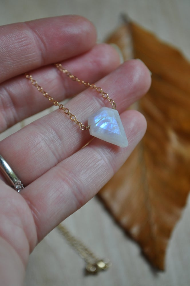 Image of Rainbow Moonstone Spike Necklace