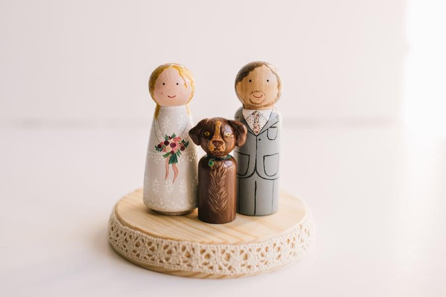Image of Figuras de madera + Mascotas para Tarta de Boda