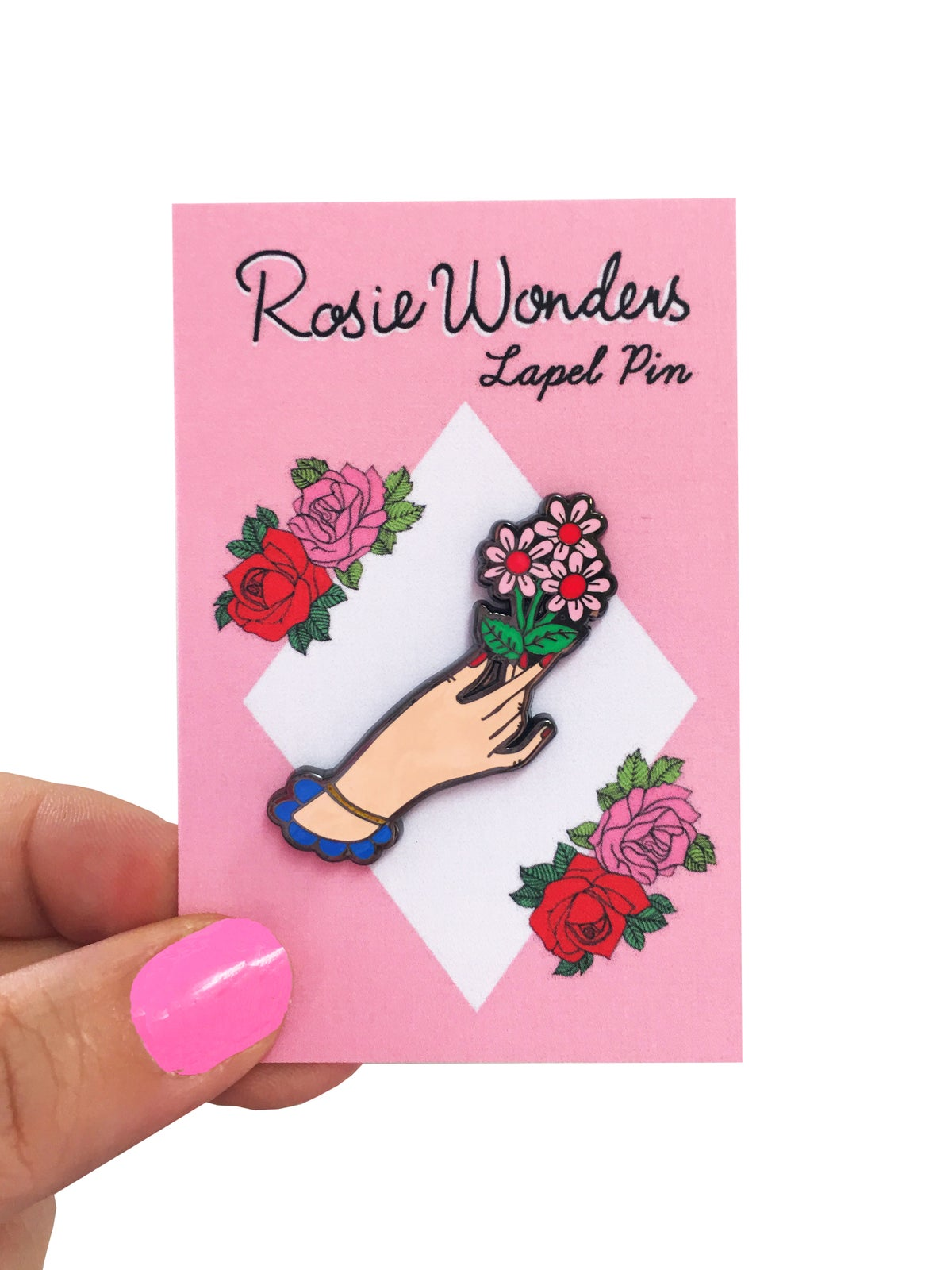 Hand and Flowers Enamel Pin