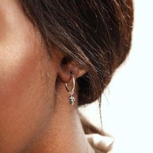 Image of Calavera Skull Sleeper Hoop Earrings Sterling Silver
