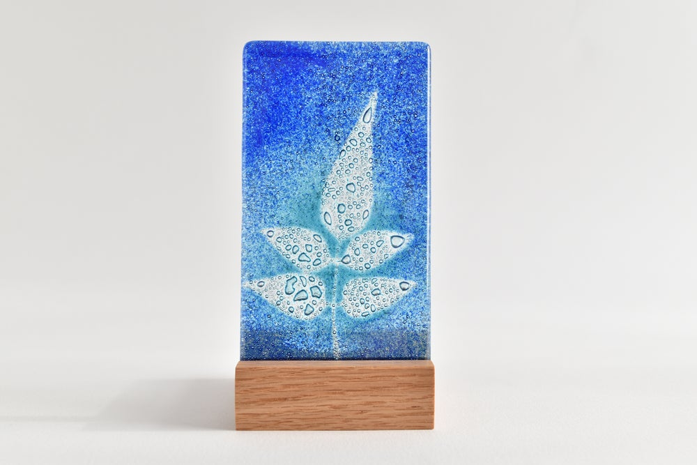 Image of Blue and Aqua Wisteria Leaf Fused Glass Single T-Light