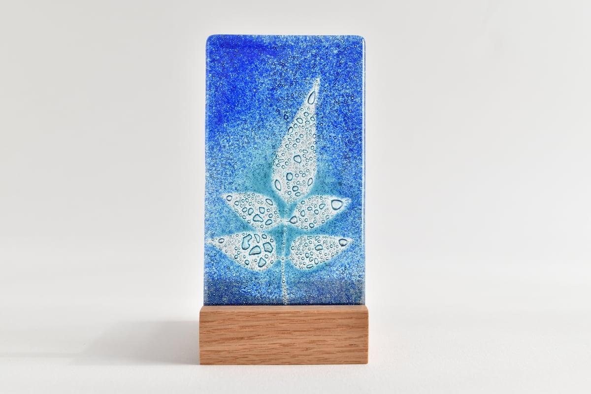 Image of Blue and Aqua Jasmine Leaf Fused Glass Single T-Light