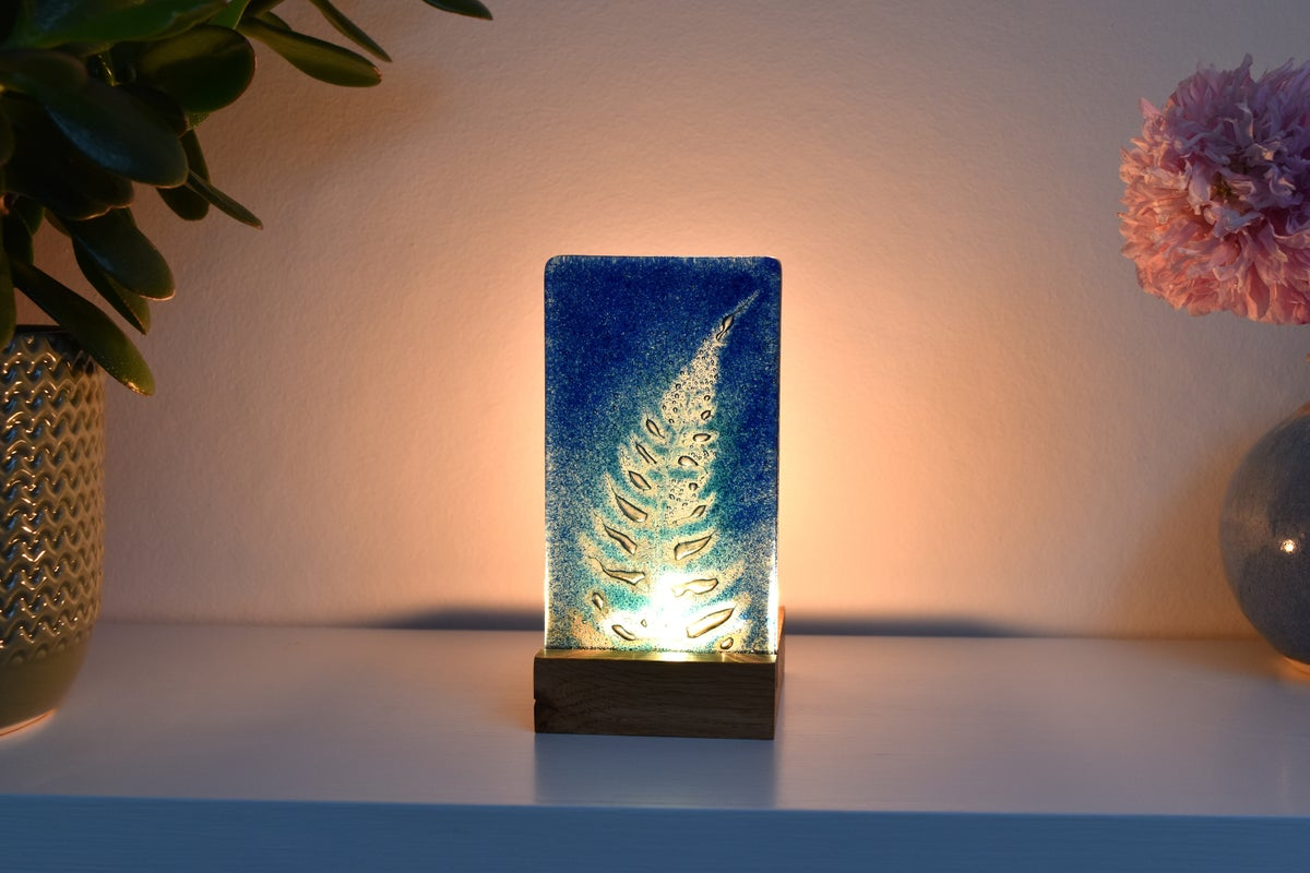 Image of Blue and Aqua Fern Frond Fused Glass Single T-Light