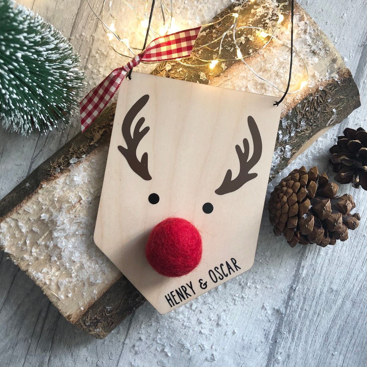 Image of Personalised Wooden Rudolph Reindeer Plaque Sign