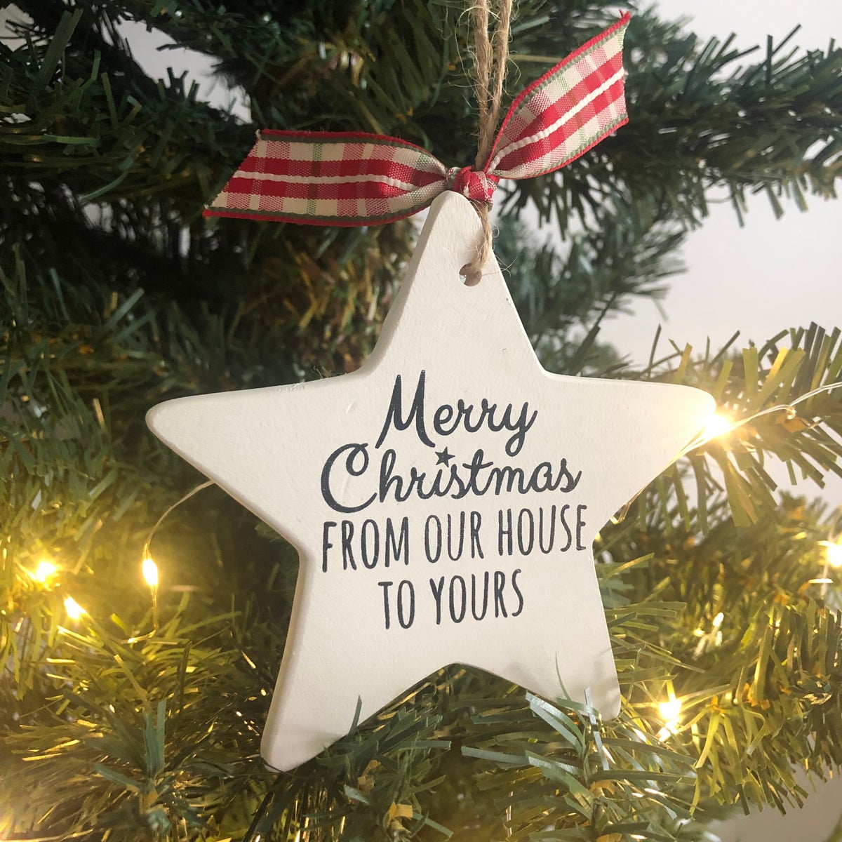 Image of Ceramic 'from our house to yours' Christmas decoration Star