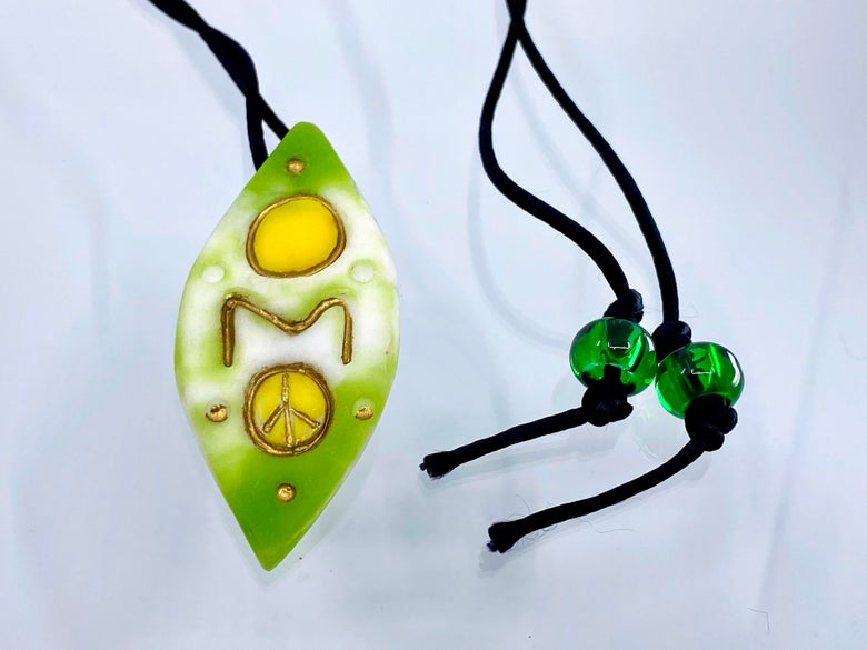"""Image of Pate de Verre Glass """"OM Peace"""" Lotus Petal Shaped Pendant in Green, White and Yellow"""