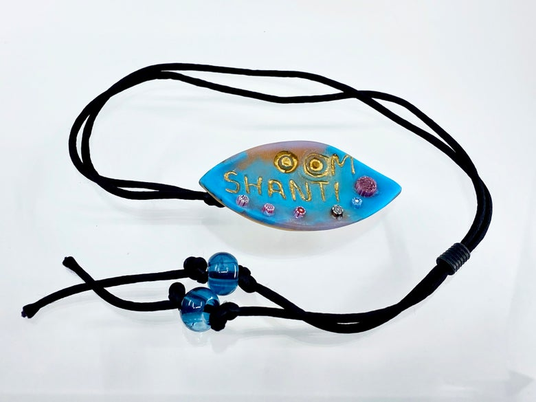 """Image of Pate de Verre Glass Pendant With Canes, """"OM Shanti"""" Lotus Petal in Gold, Turquoise, and pink"""