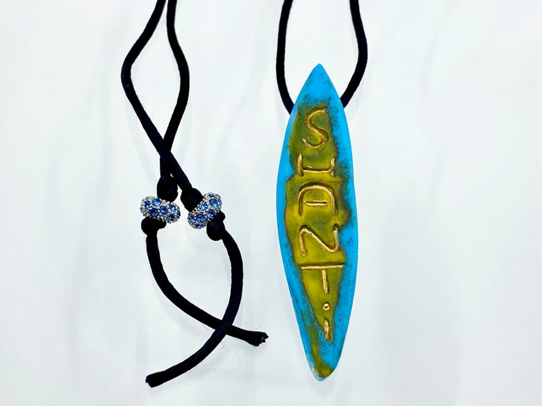 """Image of Pate de Verre Glass """"Shanti"""" Slender Lotus Petal Shaped Pendant in Turquoise and Yellow"""