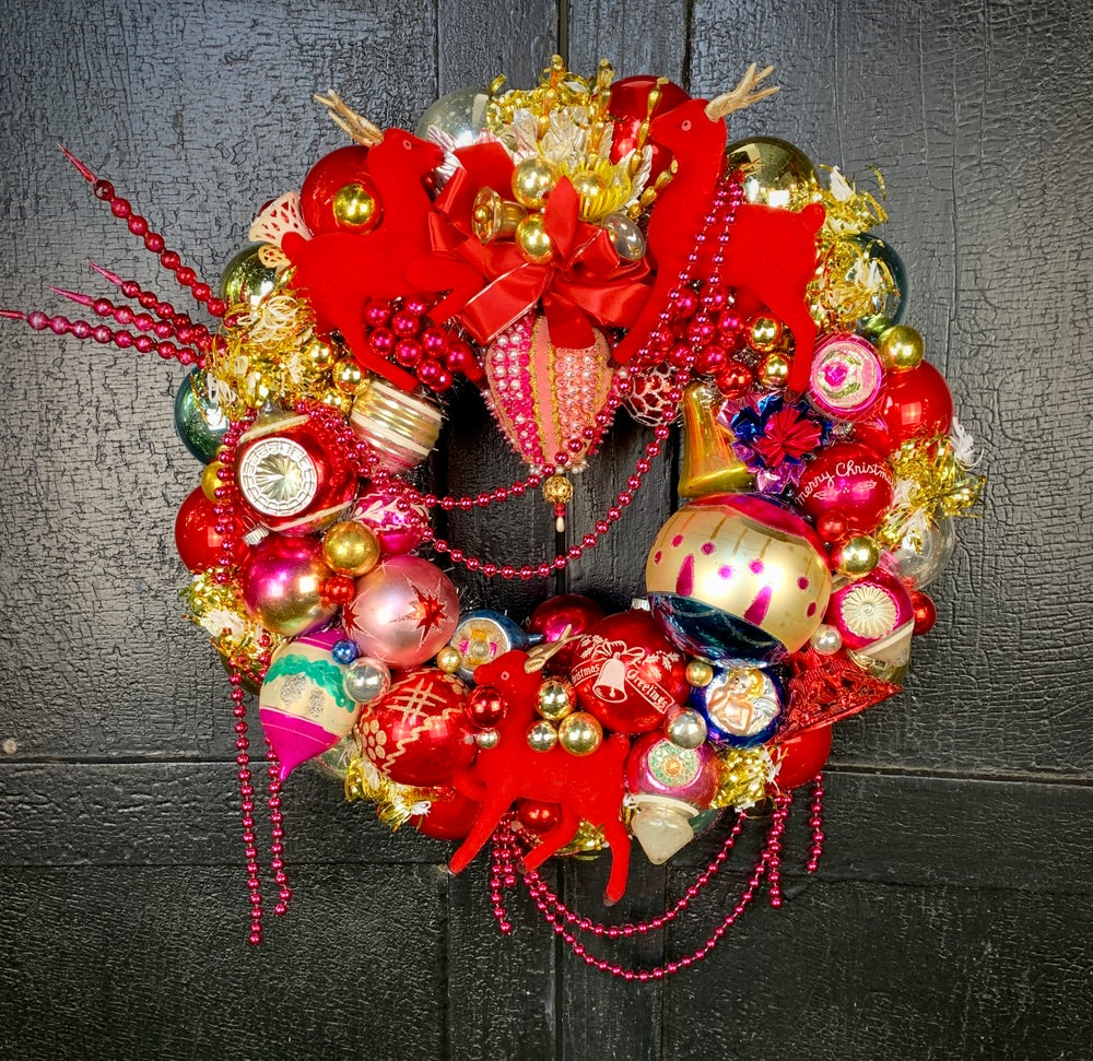 Image of Red Reindeer Fantasy Wreath