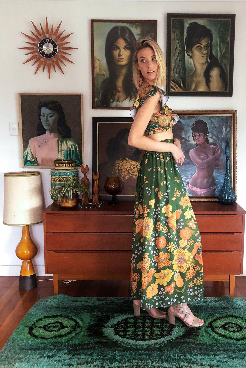 Chiffon wrap skirt in Groovy garden green