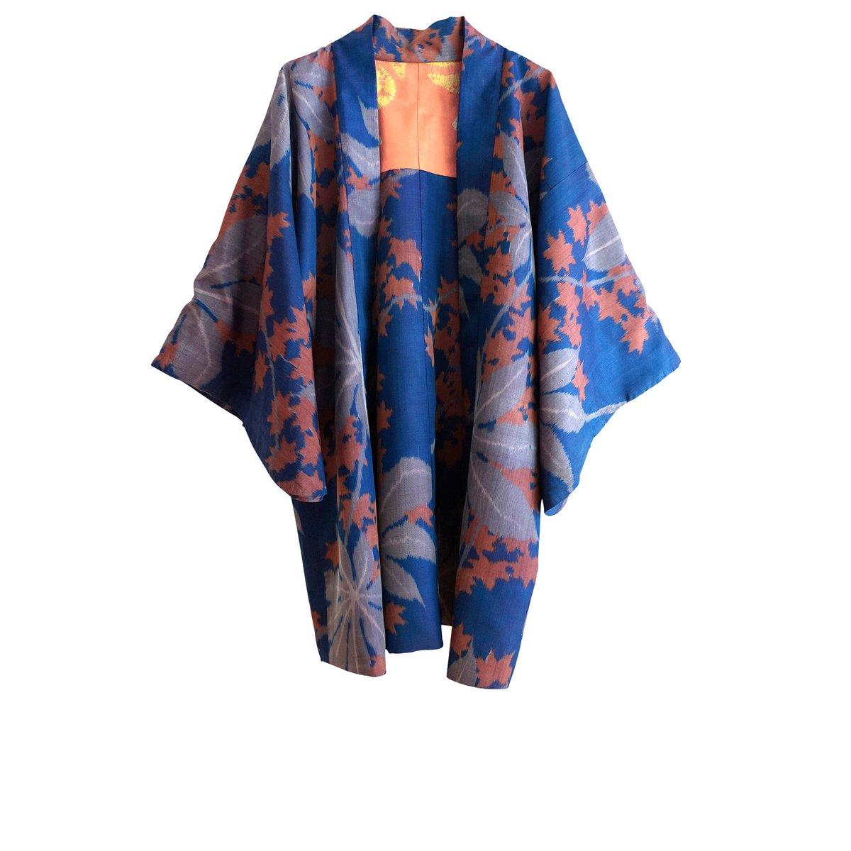 Image of Kort kimono jakke - blå med blade og orange-gult for