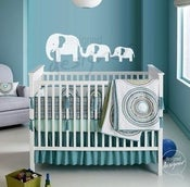 Image of Vinyl Wall Decal Mum and Baby Elephant for Nursery