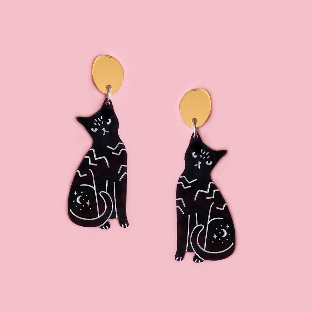Image of Cat Dangles (Black/Gold)