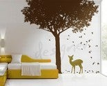 Image of Vinyl Wall Decal - Deer under Woodland Tree- dd1016