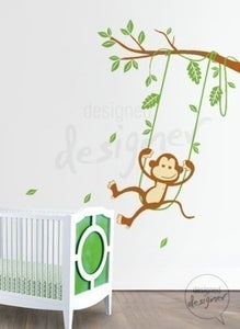 Image of Vinyl Wall Art Decals - Monkey on Swing Theme- dd1017