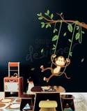 Vinyl Wall Art Decals - Monkey on Swing Theme- dd1017