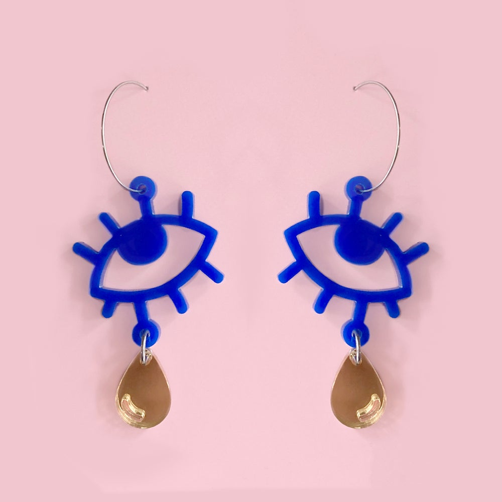 Image of Cry Baby Hoops (Lapis Blue/Gold)
