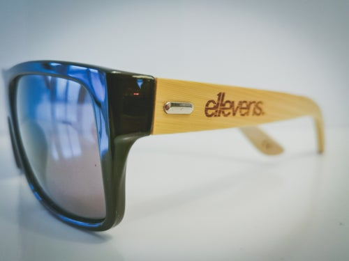 Image of E11evens - Mens modern style, solid black sunglasses