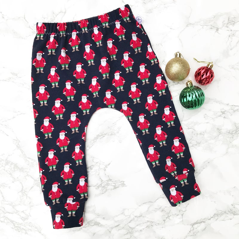 Image of Navy Santa Leggings - 3 pairs left!