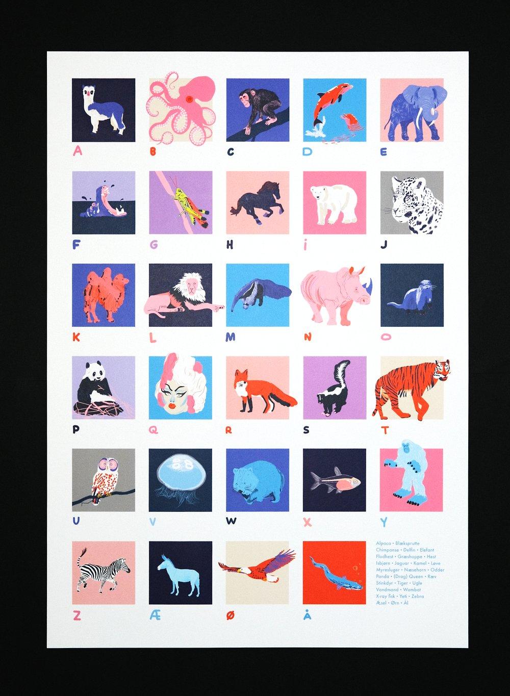 Image of A2 Print: Alphabet Poster (Danish)