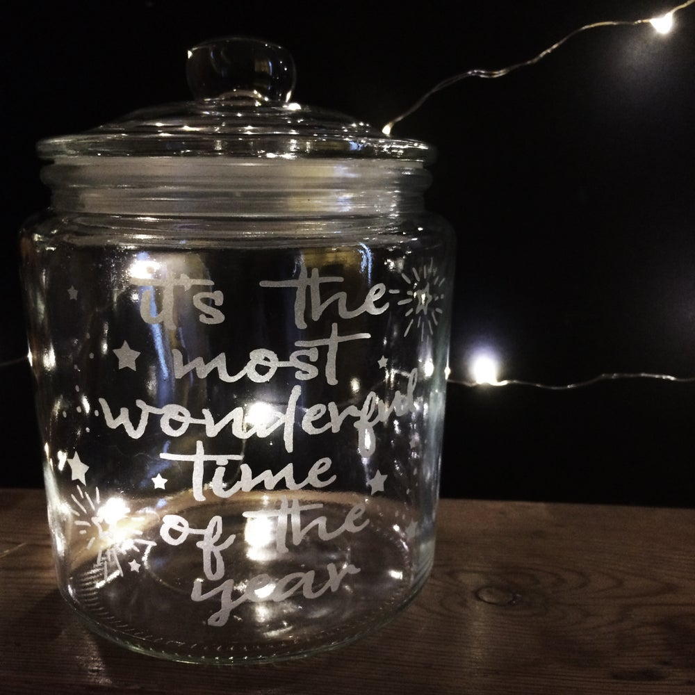 Image of 'It's the most wonderful time of the year' glass jar