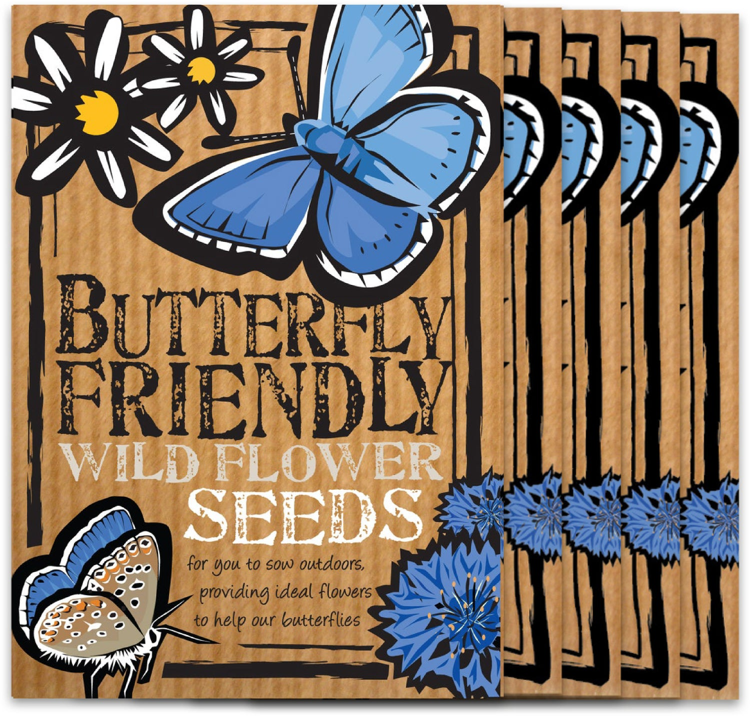Image of Bumper 5 Pack of Butterfly Friendly Wild Flower Seeds (£12.96 including VAT)