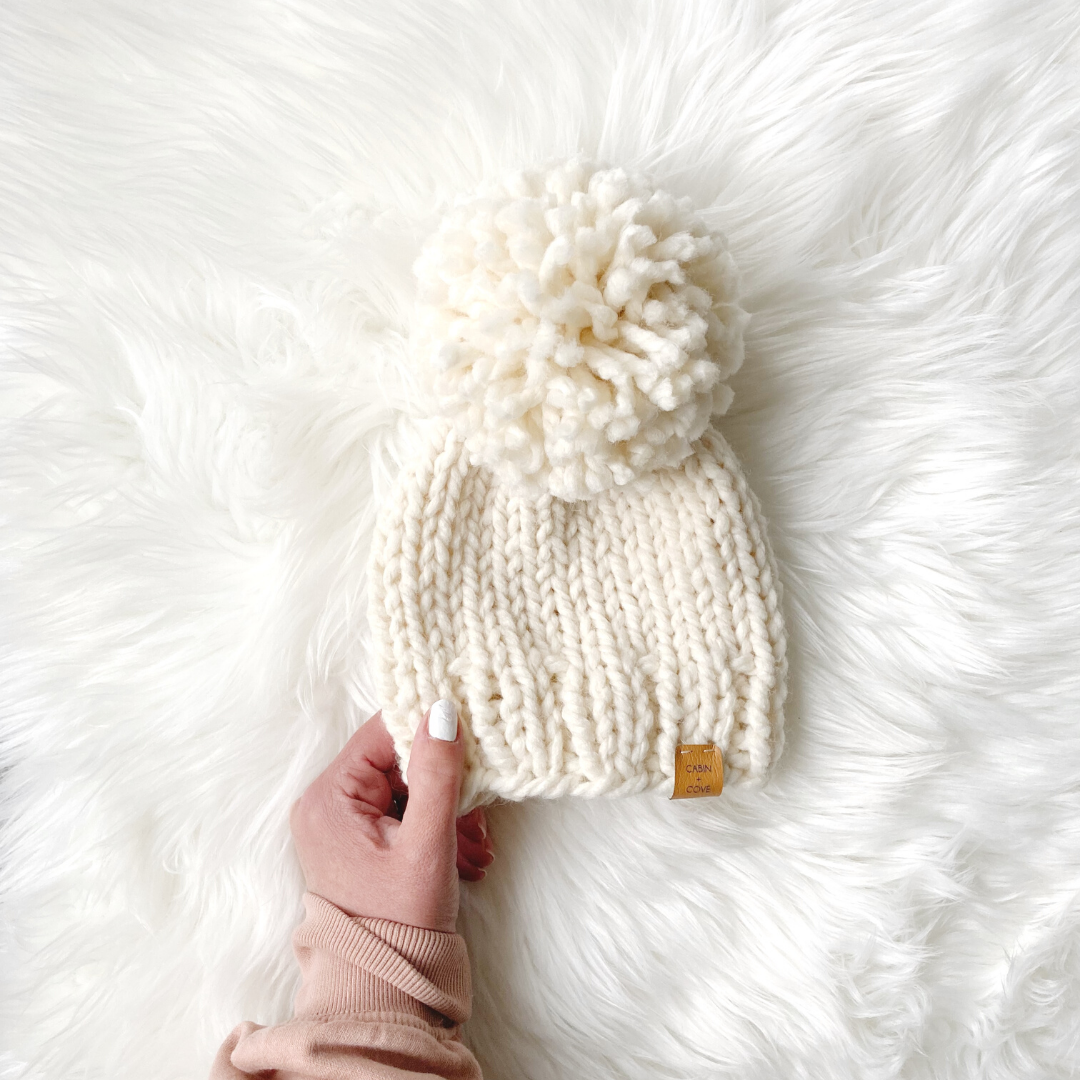 Image of Solid Beanie with Oversized Pom - Choose Your Size and Colour