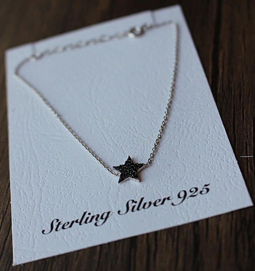 BlackStar Stud Earrings with Zircon (925 Silver)