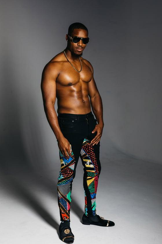 Image of MENS DENIM & Printed SILK PANT