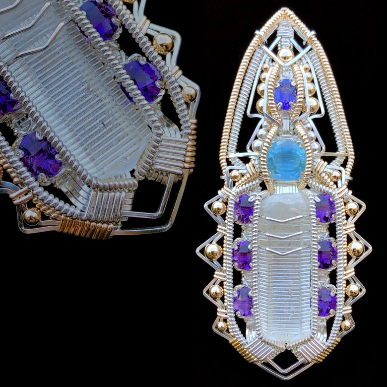 Image of Phenakite, Aquamarine, Tanzanite and Amethyst Future Tech
