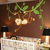 Image of Vinyl Wall Decal Art - Monkey Swinging on Vines Theme - dd1010