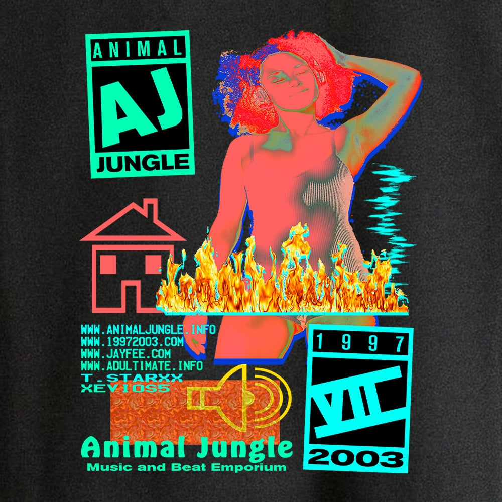 ANIMAL JUNGLE - BURN HOUSE [BLACK] - T-SHRIT