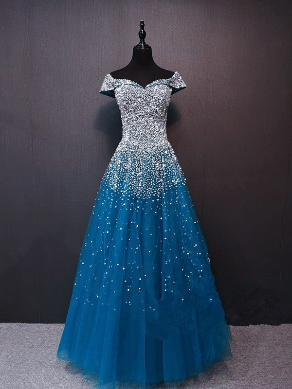 Sparkle Tulle Long Beaded Long Prom Dress, Off Shoulder Formal Dress