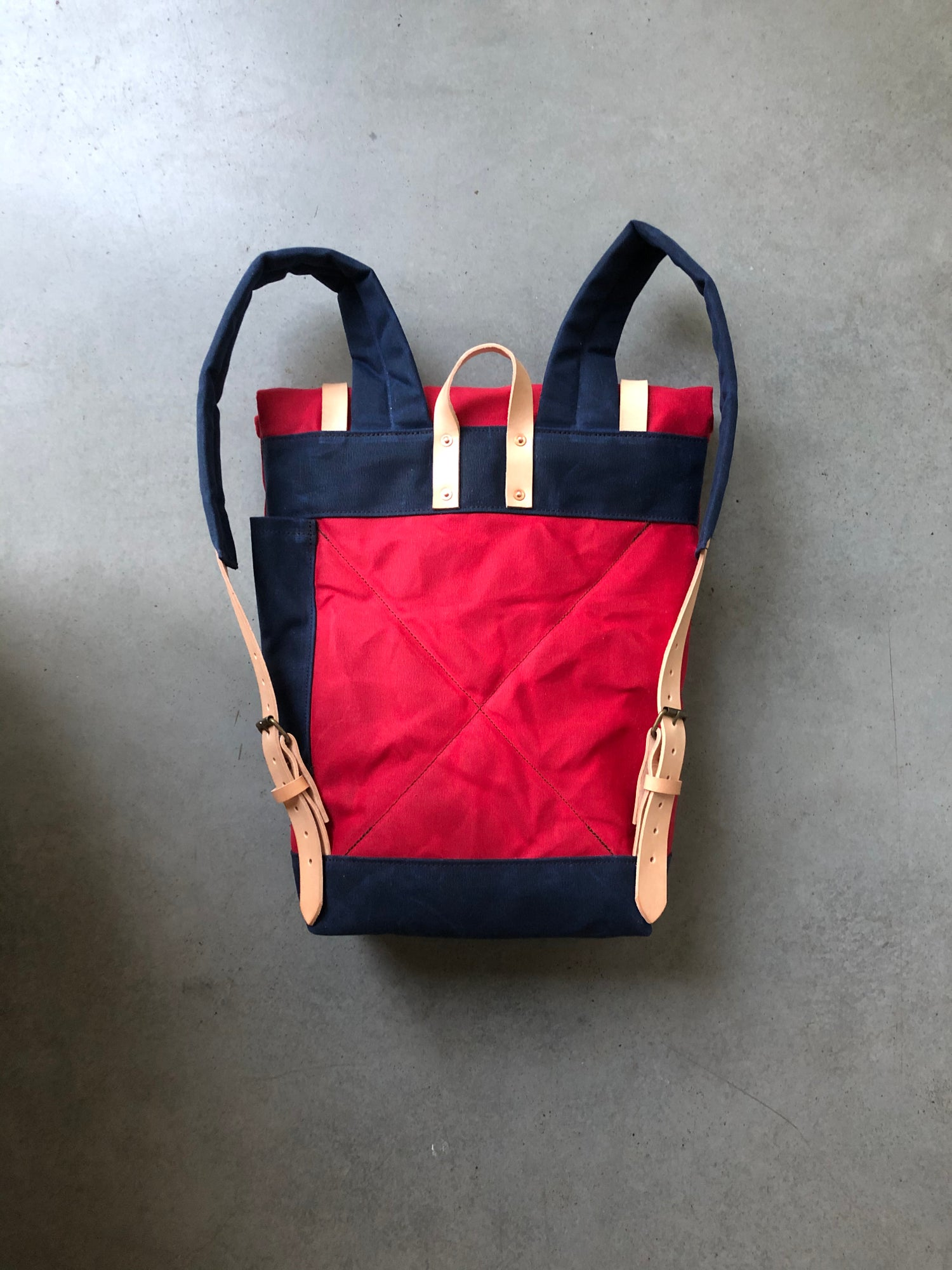 Image of Red waxed canvas leather Backpack medium size / outdoor backpack / Hipster Backpack with roll top an