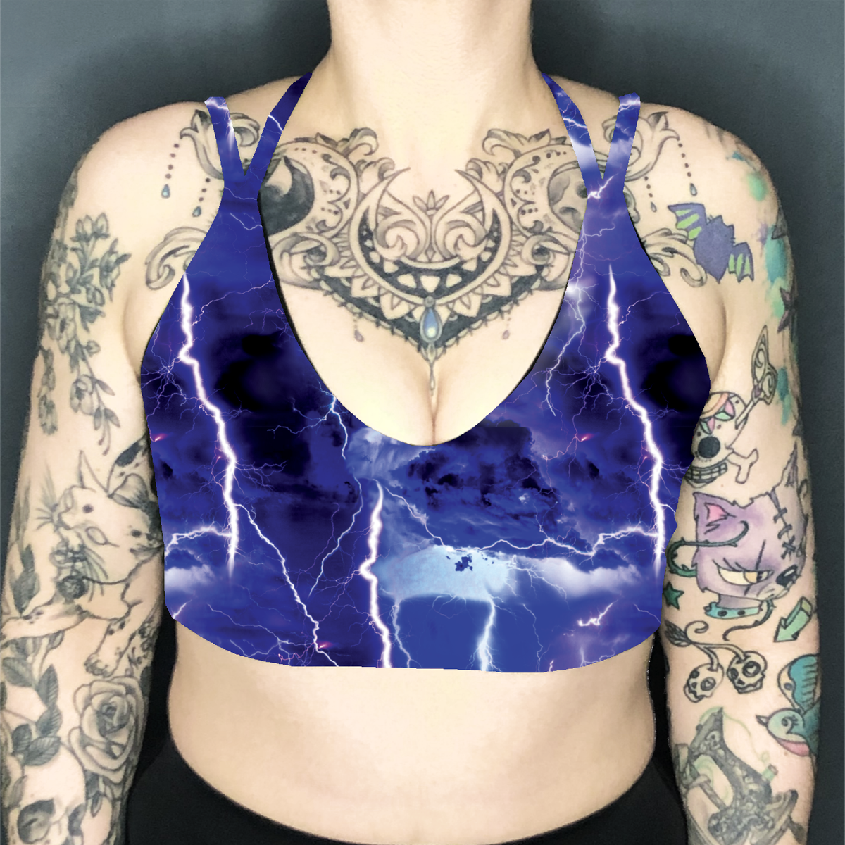 Image of Lightning Deep Plunge Strappy Crop Top