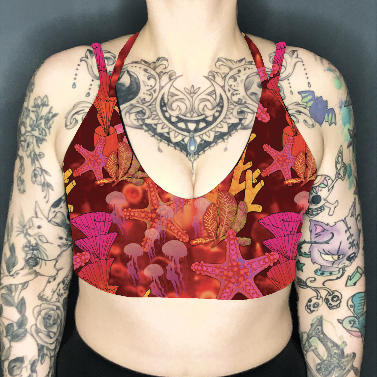 Image of Coral Reef Deep Plunge Strappy Crop Top