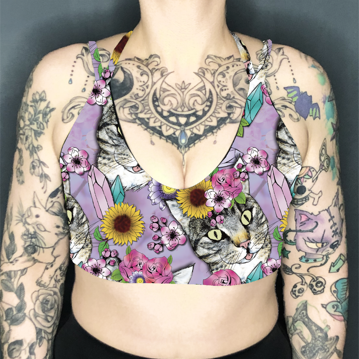 Image of Flower Crown Tabbies Deep Plunge Strappy Crop Top