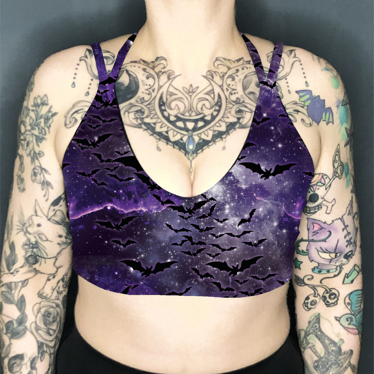 Image of Bats Deep Plunge Strappy Crop Top