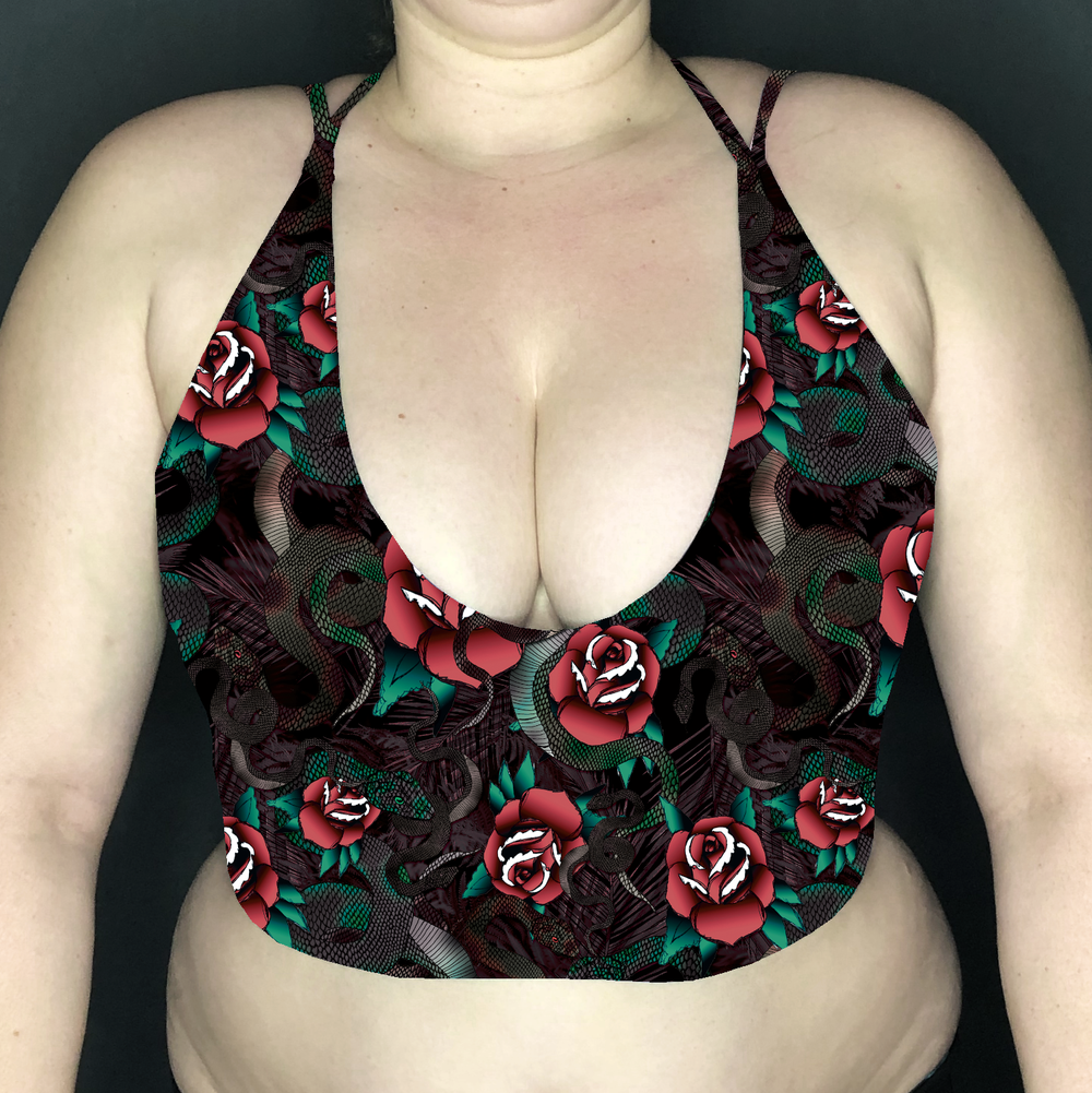Image of Snakes & Roses Deep Plunge Strappy Crop Top